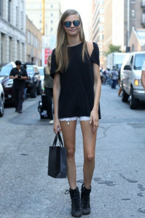 Cara Delevingne Black Shirt White Lace Shorts Boots Sunglasses The Lifestyle Reporter