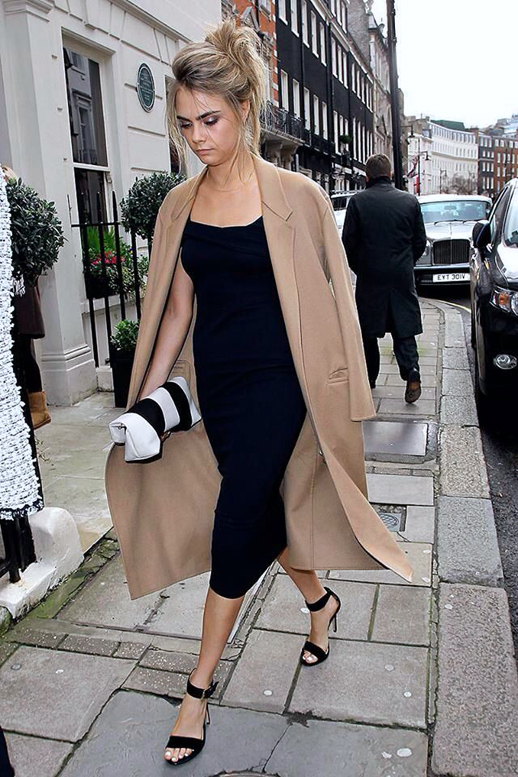 Cara Delevingne Camel Black Dress Coat Black Stilletos Wedding Simple Model Supermodel The Lifestyle Reporter