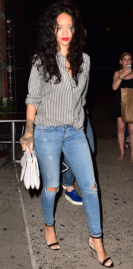 Rihanna Collared Shirt Jeans Heels The LifeStyle Reporter