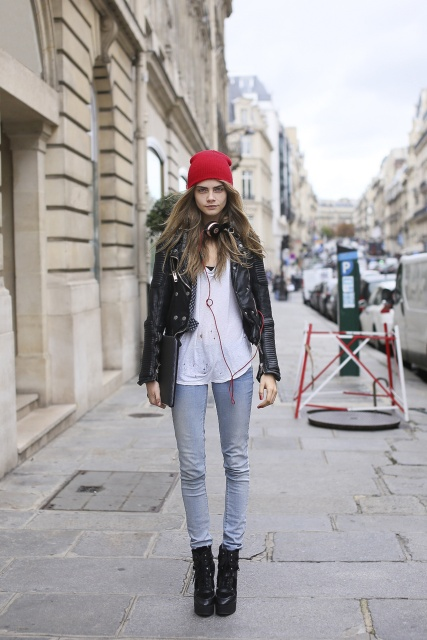 Cara Delevingne Street Style Red Beanie Black Jacket White Shirt Blue Jeans Model Supermodel The Lifestyle Reporter