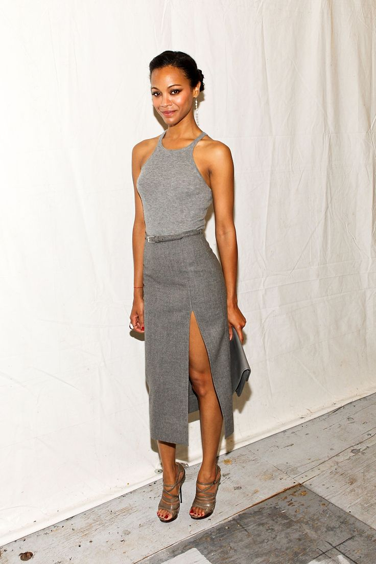 Gray Top Gray Skirt Shades of Gray Zoe Saldana The Lifestyle Reporter