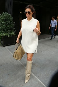 Kim Kardashian Oversize Sweater Tall Nude Beige Boots Celine Purse The Lifestyle Reporter