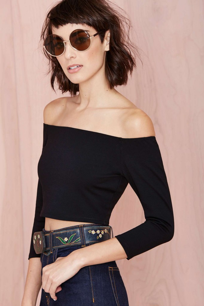 Nasty Gal Courtney Crop Top in Black, $38