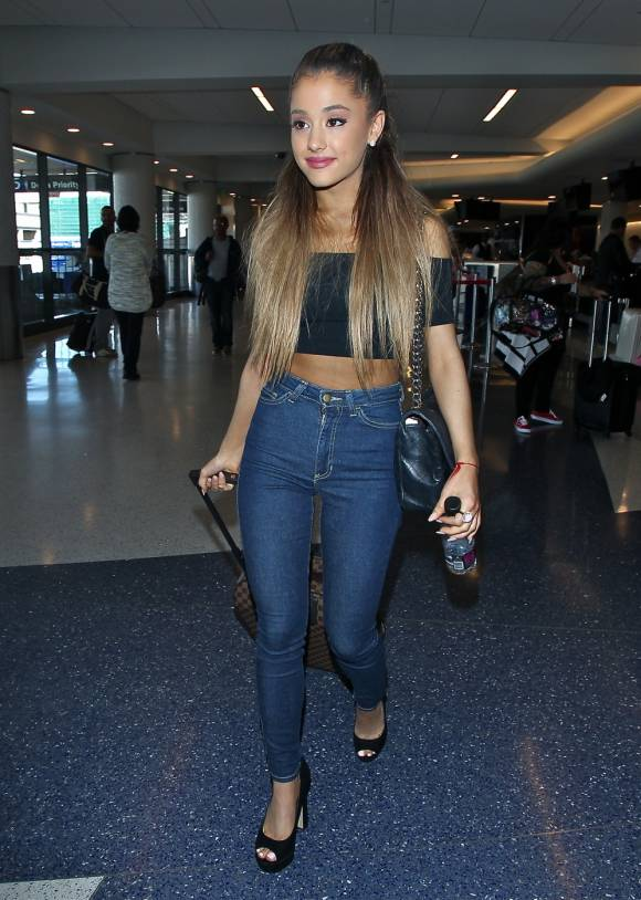 ariana grande high waisted jeans off the shoulder top the lifestyle reporter