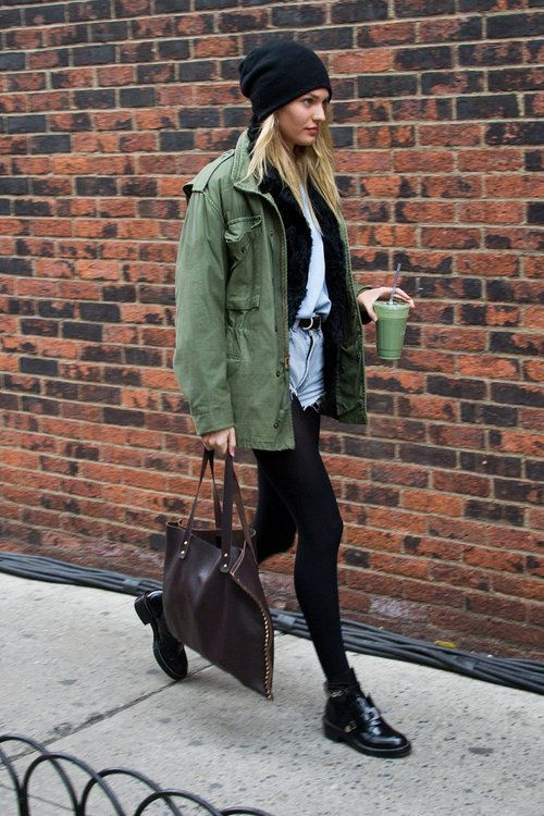 Candice Swanepoel Green Jacket Shorts Tights The Lifestyle Reporter