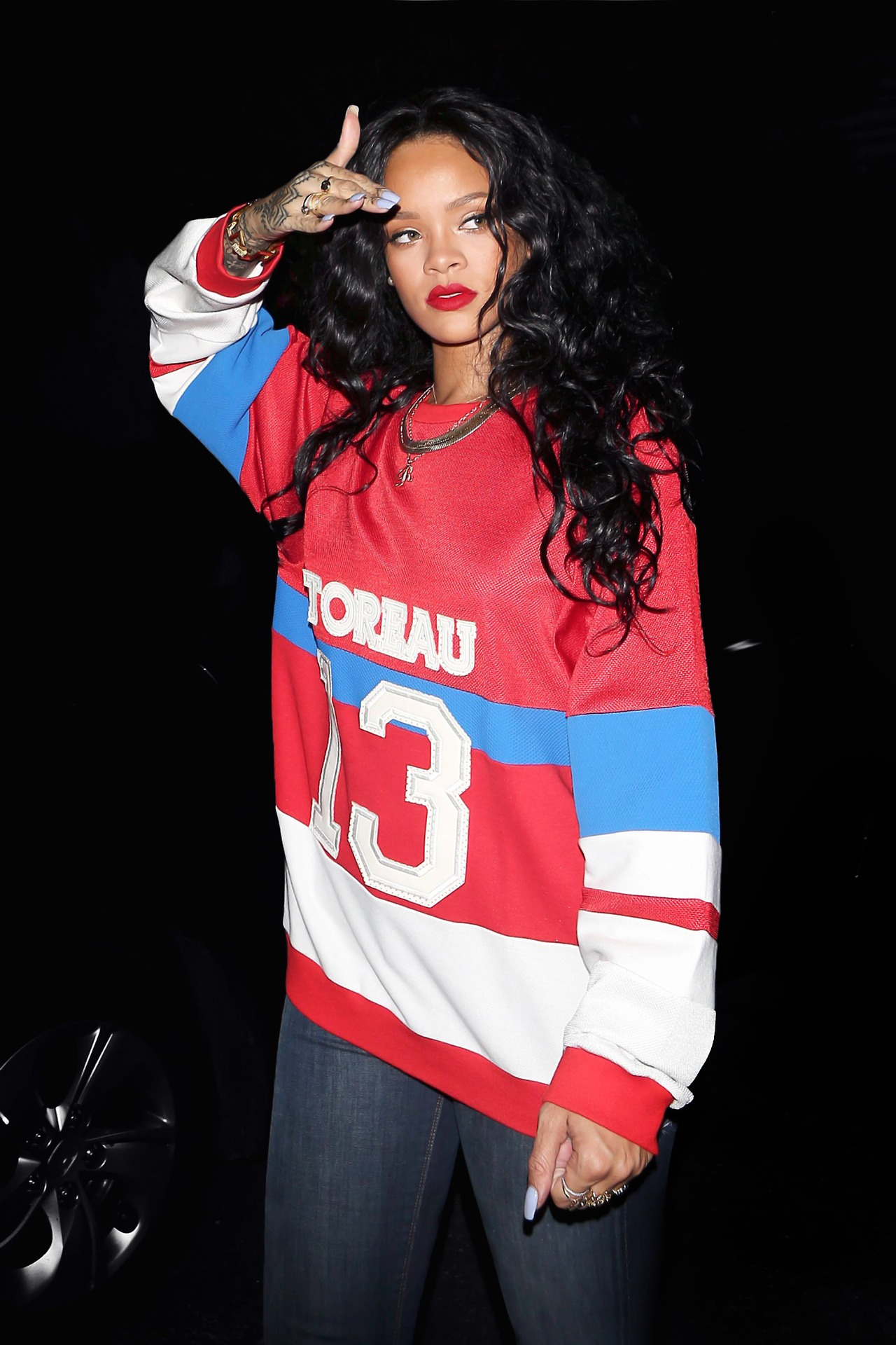 Rihanna Jersey Top Black Hair Blue Jeans The Lifestyle Reporter