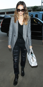 Jessica Alba Black Shirt Ripped Jeans Gray Sweater Combat Boots
