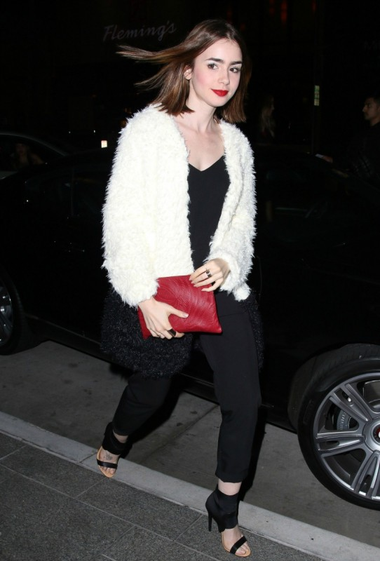 Lily Collins Faux Fur Coat Minkpink The Lifestyle Reporter