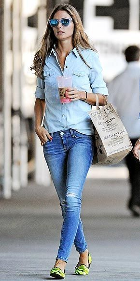 Olivia Palermo Blue Chambray Denim Jeans