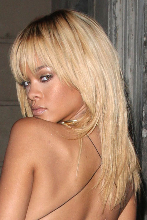 Rihanna Blonde Bangs Do