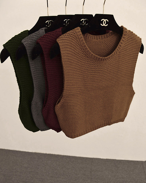 Sleeveless High Neck Sweater Crop Tops Chanel
