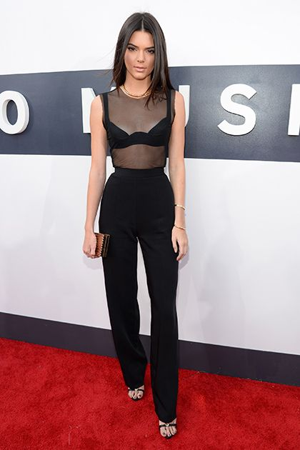 kendall jenner sheer top high waisted trousers