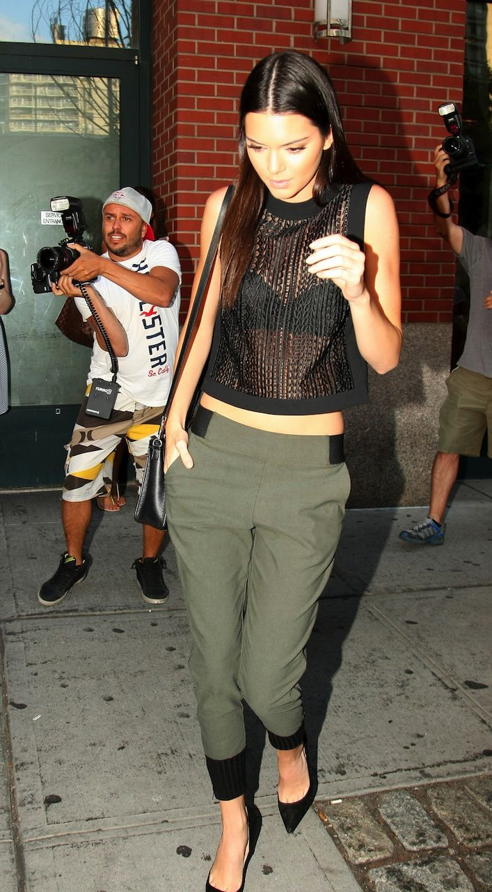kendall jenner sheer top joggers
