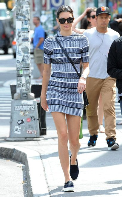 kendall jenner striped sweater dress flat shoes