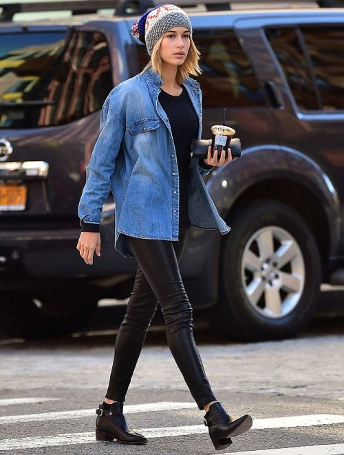 Hailey Baldwin All Black Chambray Top The Lifestyle Reporter