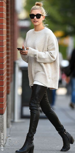 Hailey Baldwin Boots Oversize Sweater The Lifestyle Reporter