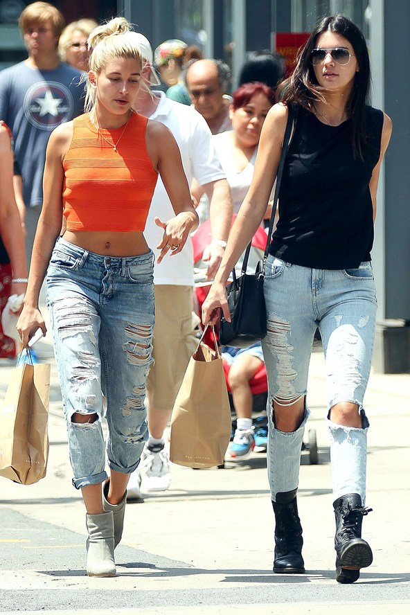 Hailey Baldwin Kendall Jenner Ripped Jeans