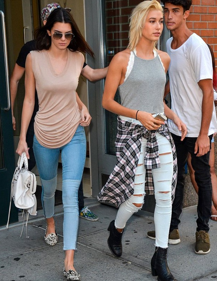 Hailey Baldwin Ripped White Jeans Gray Shirt Flannel Top The Lifestyle Reporter