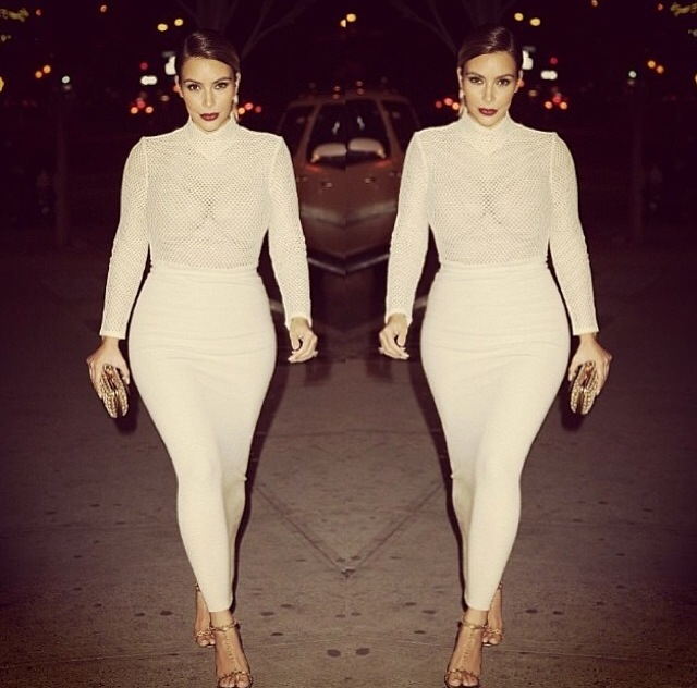 Kim Kardashian Sheer Turtleneck and Skirt