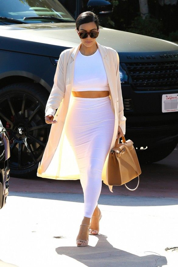 Kim Kardashian White Crop Top Long Skirt Jacket Hermes Bag