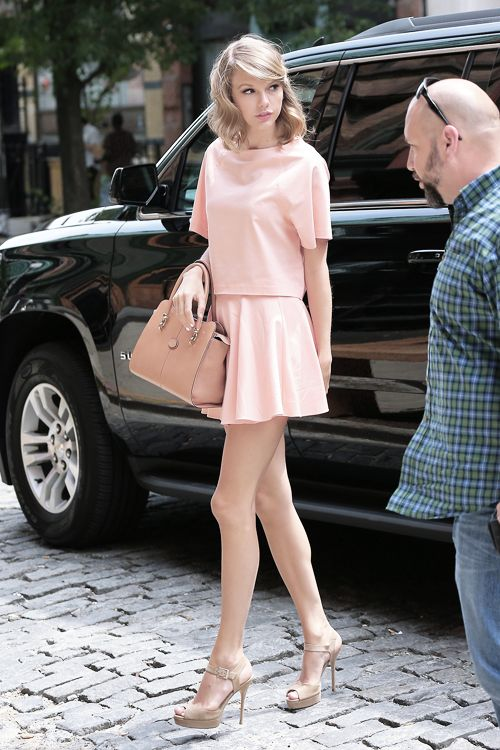 Taylor Swift Blush Colored Skirt Shirt Monochrome The Lifestyle Reporter