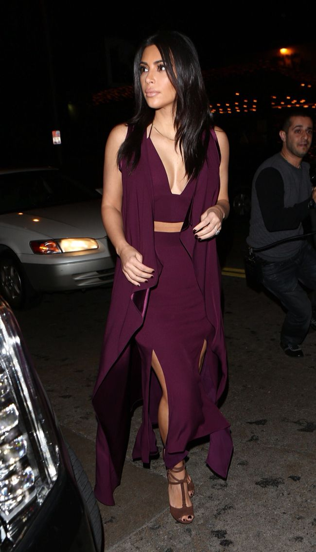 Kim Kardashian Maxi Skirt Crop Top Maroon The Lifestyle Reporter