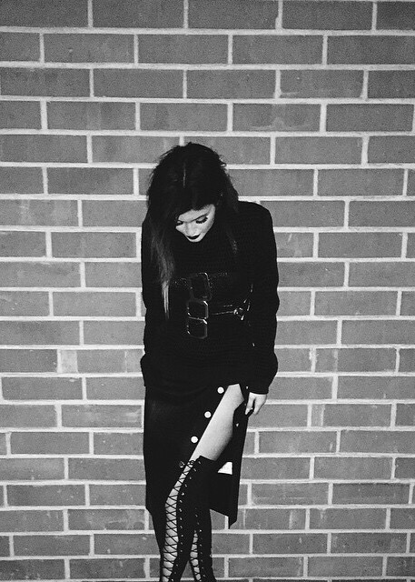 Kylie Jenner All Black High Lace Up Boots Thigh Highs