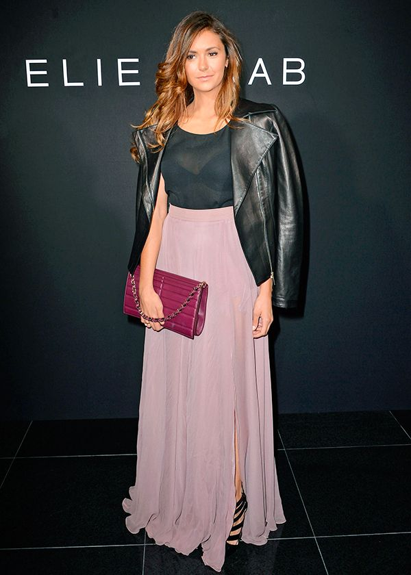 Nina Dobrev Black Top Maxi Skirt Pink Blush Jacket Eli Saab The Lifestyle Reporter