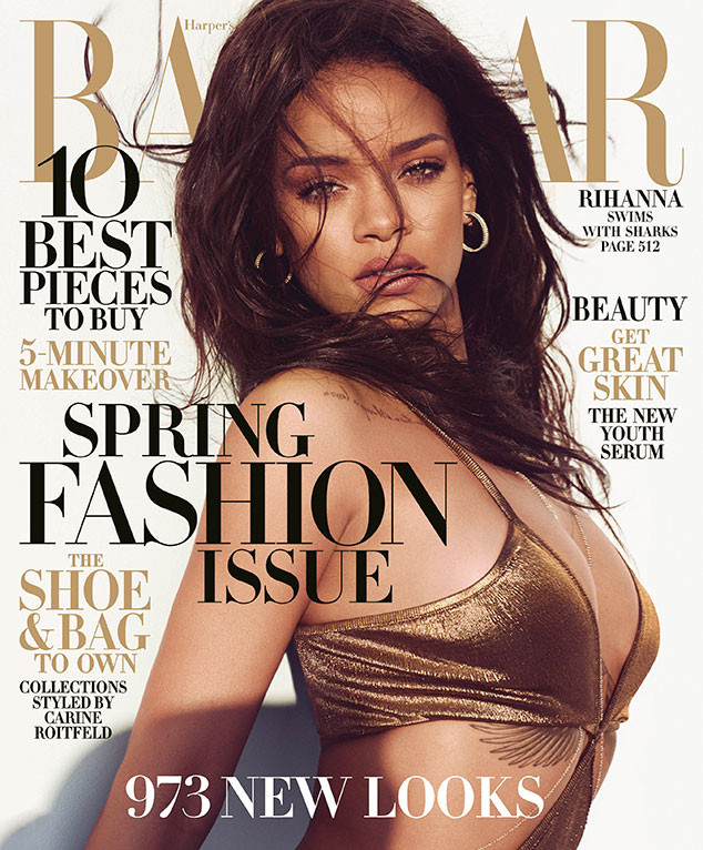 Rihanna Harpers Bazaar March 2015 Balmain Jumpsuit Cover