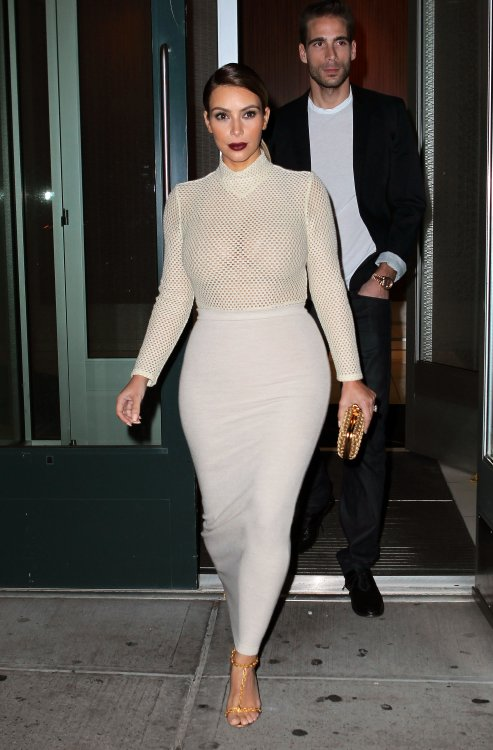 Kim Kardashian long jersey maxi skirt bodycon sheer turtleneck top