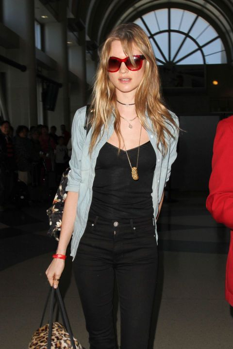 Behati Prinsloo Chambray Top Black Jeans Style