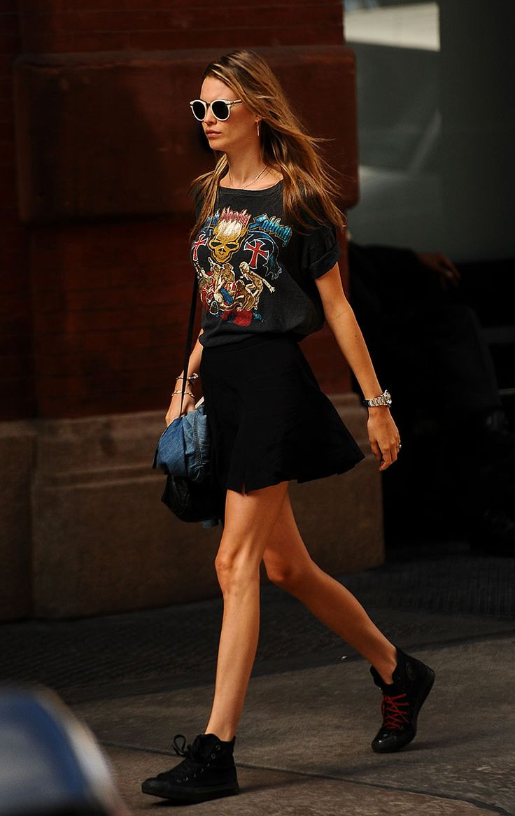 Behati Prinsloo Rocker T Shirt Black Skirt Tennis Shoes Style