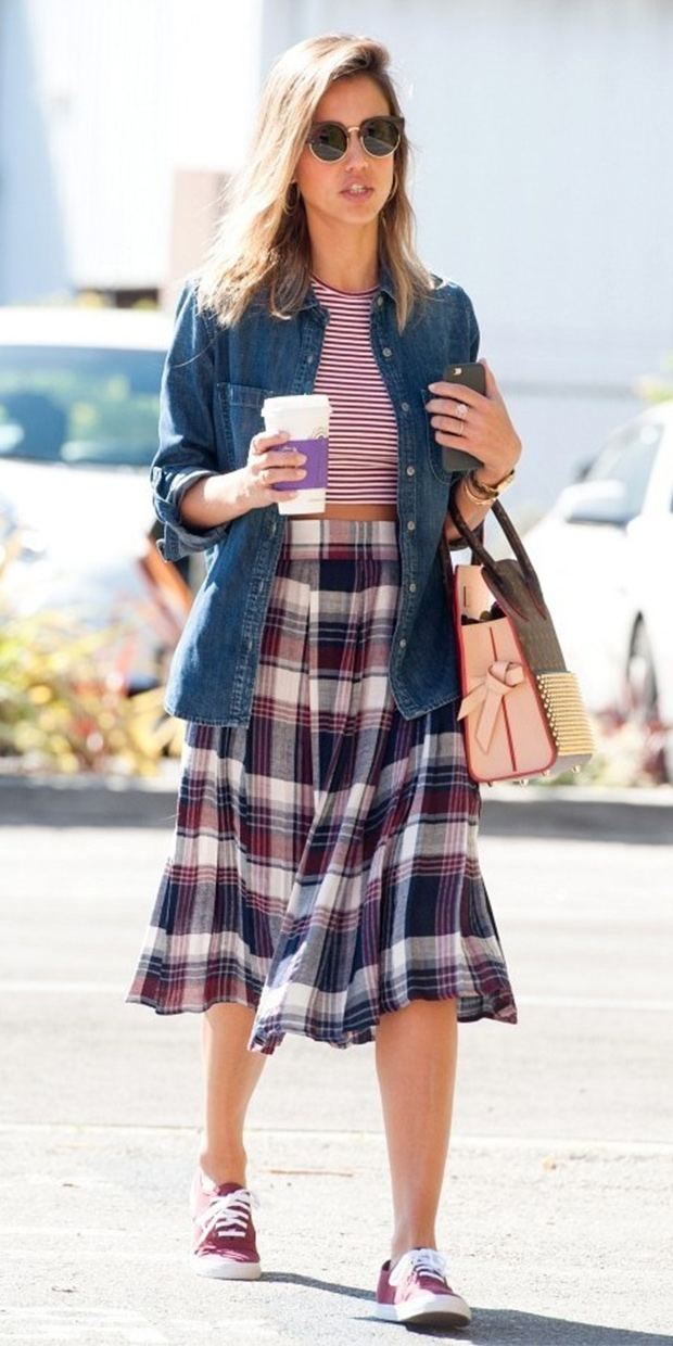 Jessica Alba Plaid Skirt Striped Crop Top Chambray Jean Top Style