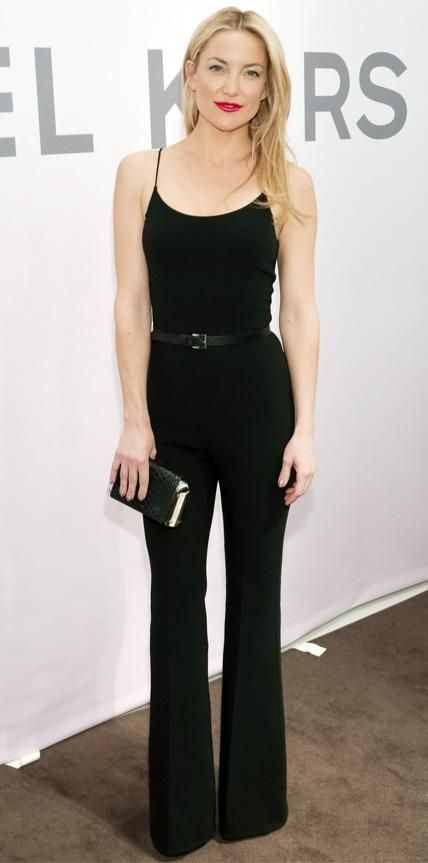 Kate Hudson All Black Spagetti Strap Top Tank Trousers Belt Simple OOTN Look Style