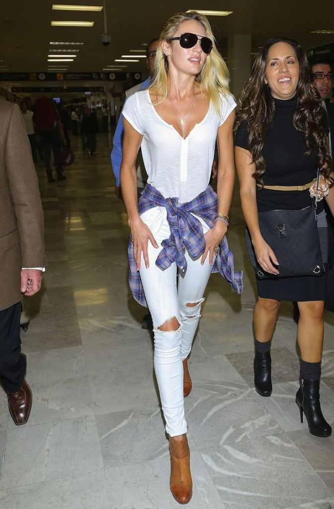 Candice Swanepoel White T Shirt Ripped Denim Jeans Flannel Tied Around Waist 90s style