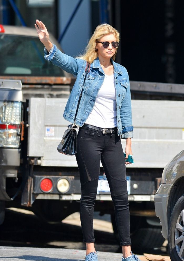 Gigi Hadid Denim Jacket Model Style Black Jeans White Tee