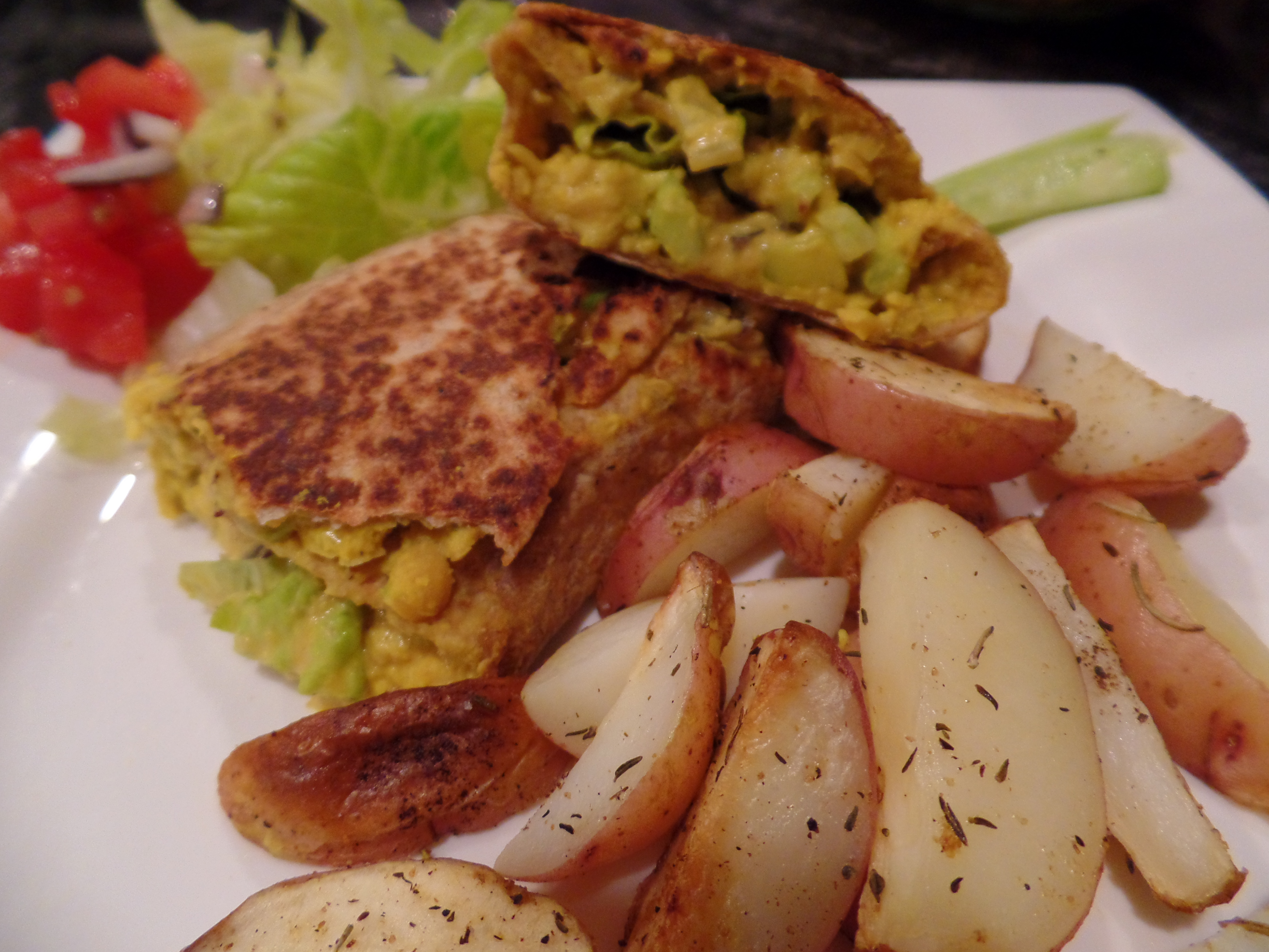 The Lifestyle Reporter Vegan Chickpea Shawarma with baked potato slices