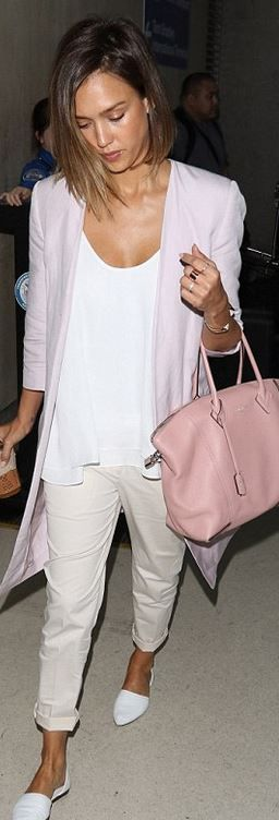 Jessica Alba White Shirt Pants Blush Blazer Pink Bag Style