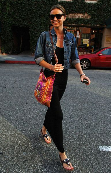 Miranda Kerr Denim Jacket Black Dress Sandals Model Style