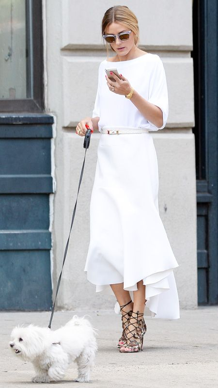 Olivia Palermo White Dress Belt Lace up Heels