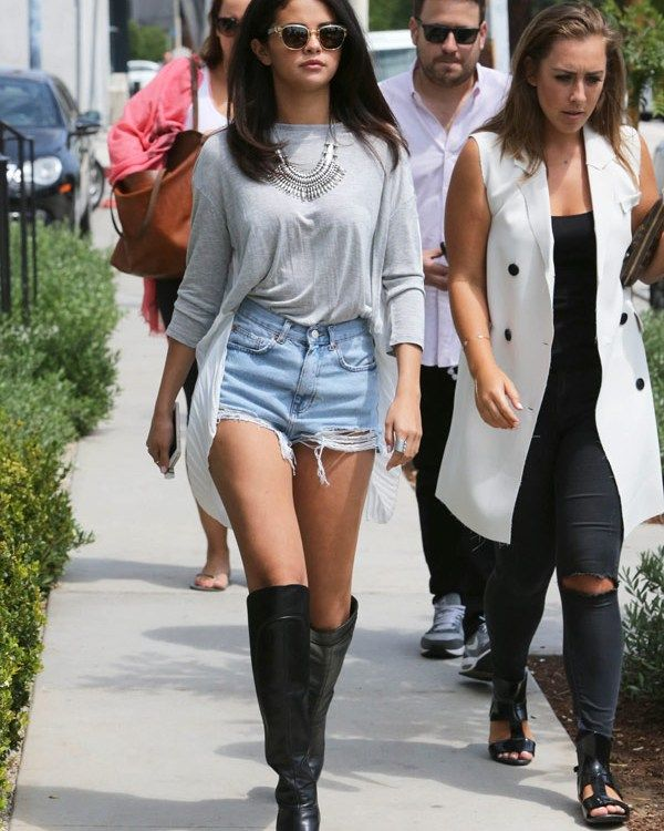 Selena Gomez Thigh Highs Gray Top Denim Shorts style
