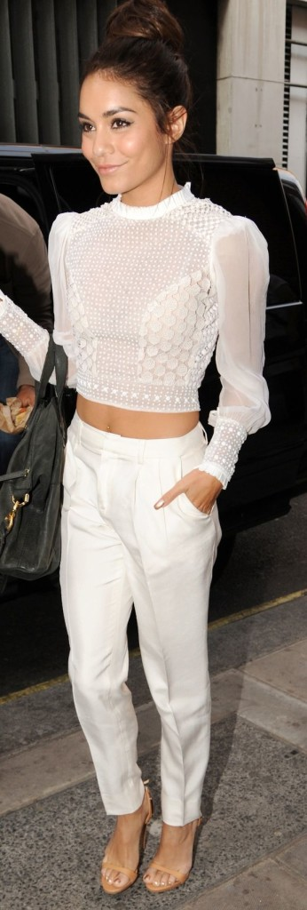 Vanessa Hudgens White Blouse Crop Top Trousers Style