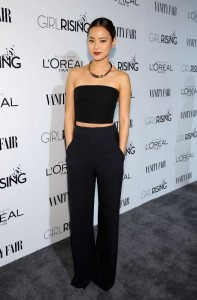 Jamie Chung Black Crop Top Tube Trousers Simple Date Night Style
