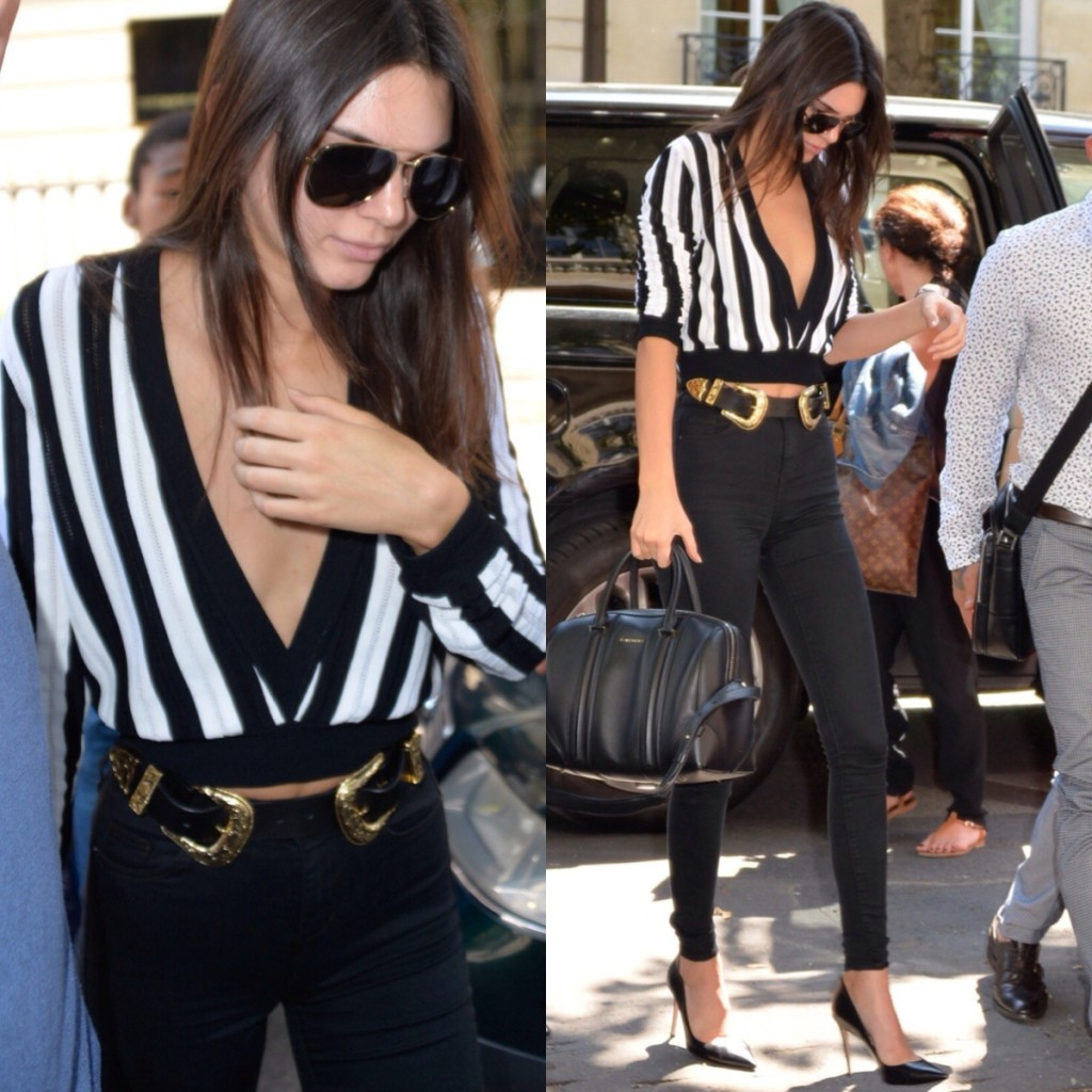 Kendall Jenner Black and White Striped Top Western Belt Jeans Model Style Double Buckle