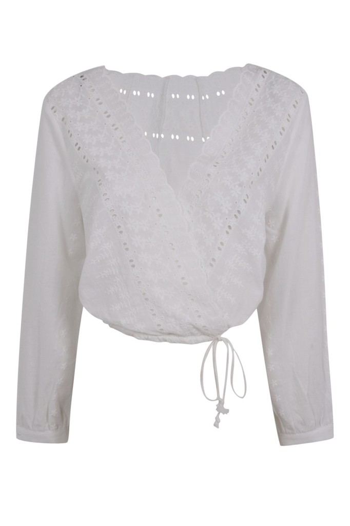Kendall + Kylie at Topshop Embroidered Surplice Top.  Photo courtesy of Topshop.