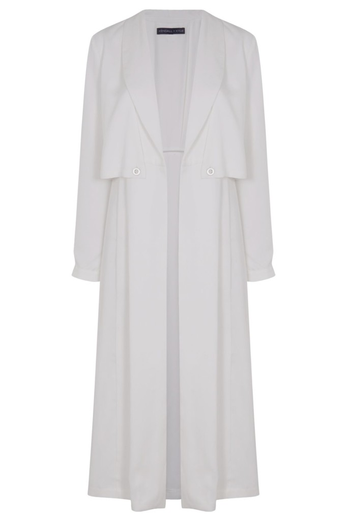 Kendall + Kylie at Topshop White Duster Coat, $150.
