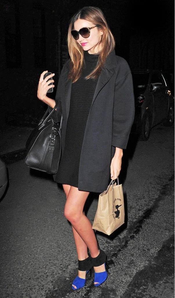 Miranda Kerr Black Blazer Dress Blue and Black Heels Mosel Style