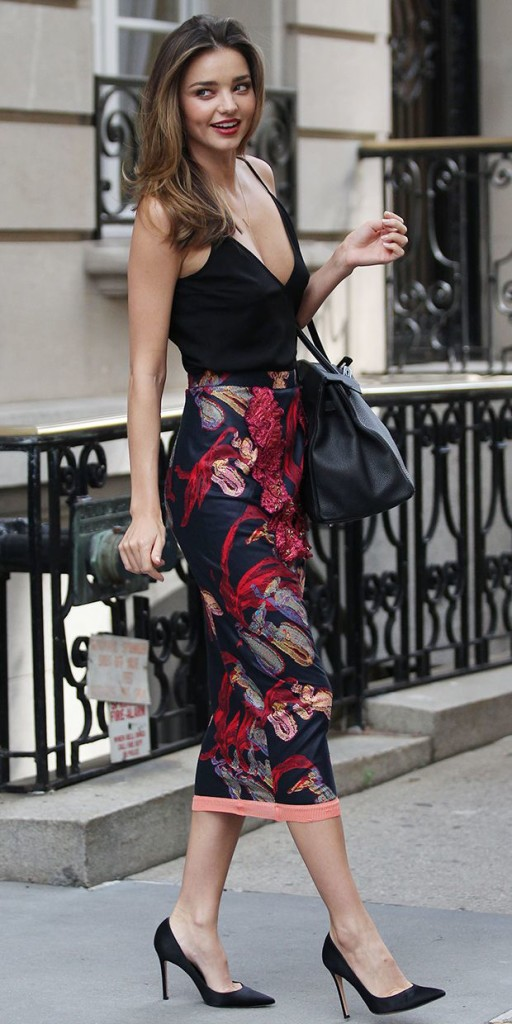 Miranda Kerr Floral Midi Skirt Black Tank Top Model Style