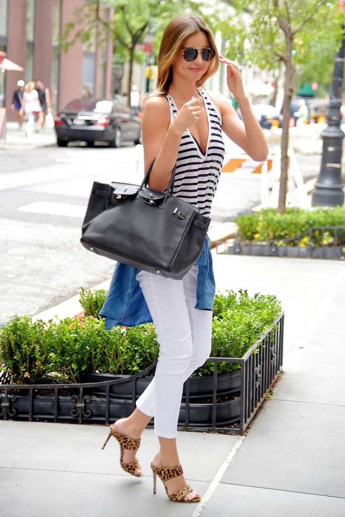 Miranda Kerr Striped Top Denim Chambray Top White Jeans Leopard Model Style