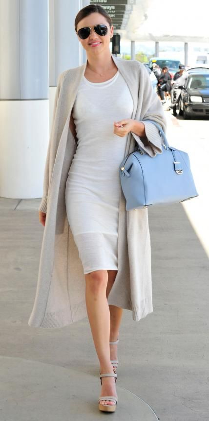 Miranda Kerr White Dress Duster Coat Baby Blue Purse Model Style
